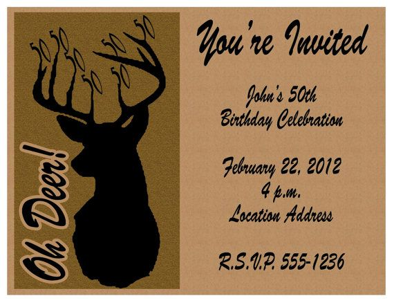 Printable oh deer 50th birthday invitations via etsy customized printable oh deer birthday invitations via etsy is your deer hunter turning or invite your guest with these hunting themed invitations filmwisefo