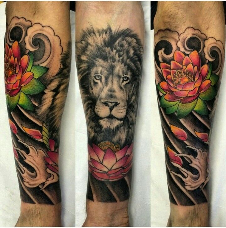 Lotus Flower And Lion Combo Locus Tattoo Great Tattoos Tattoo Designs