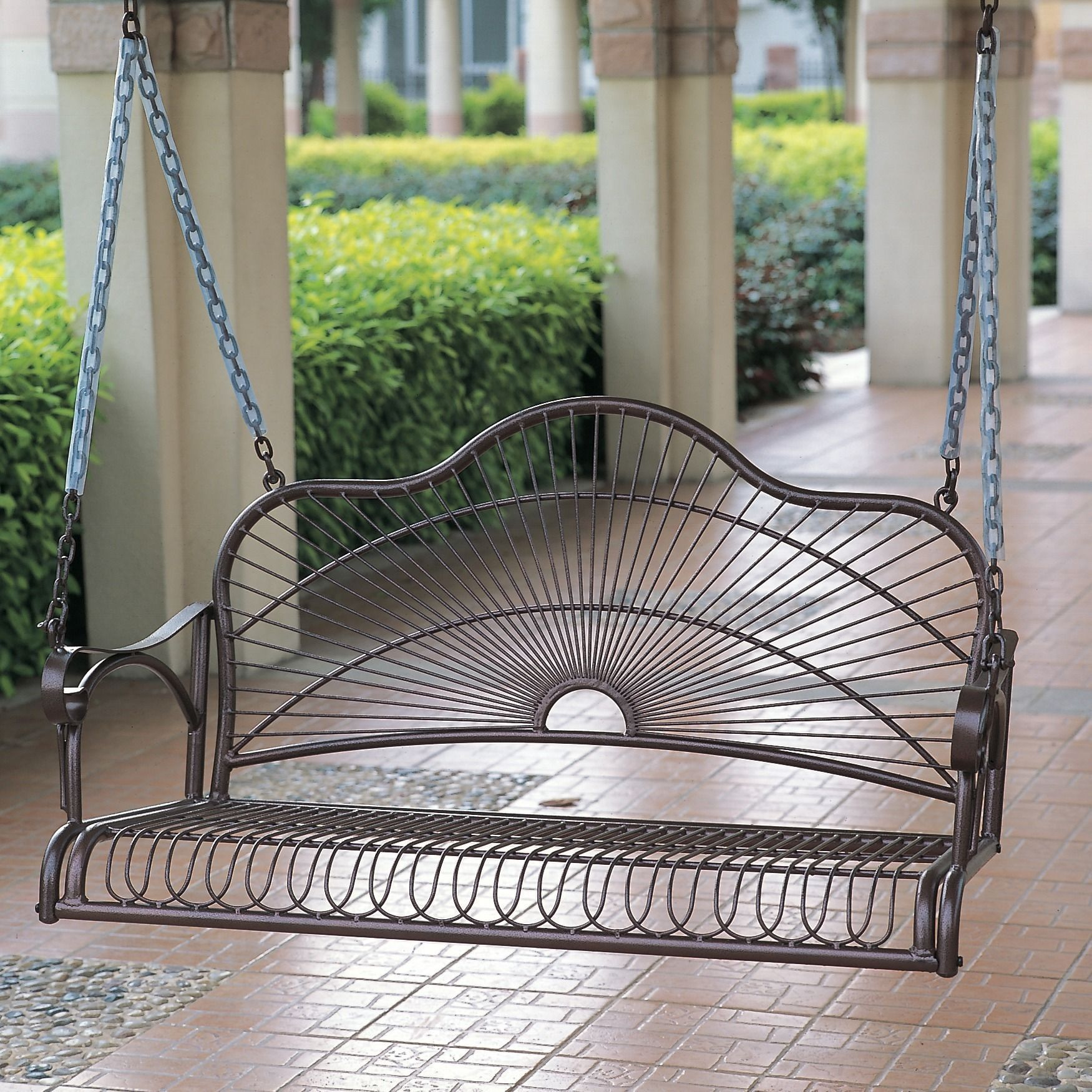 International Caravan Iron Sun Ray Porch Swing   Outdoor Living Showroom  Matches The Rocker, Again Itu0027d Need Some Cushions