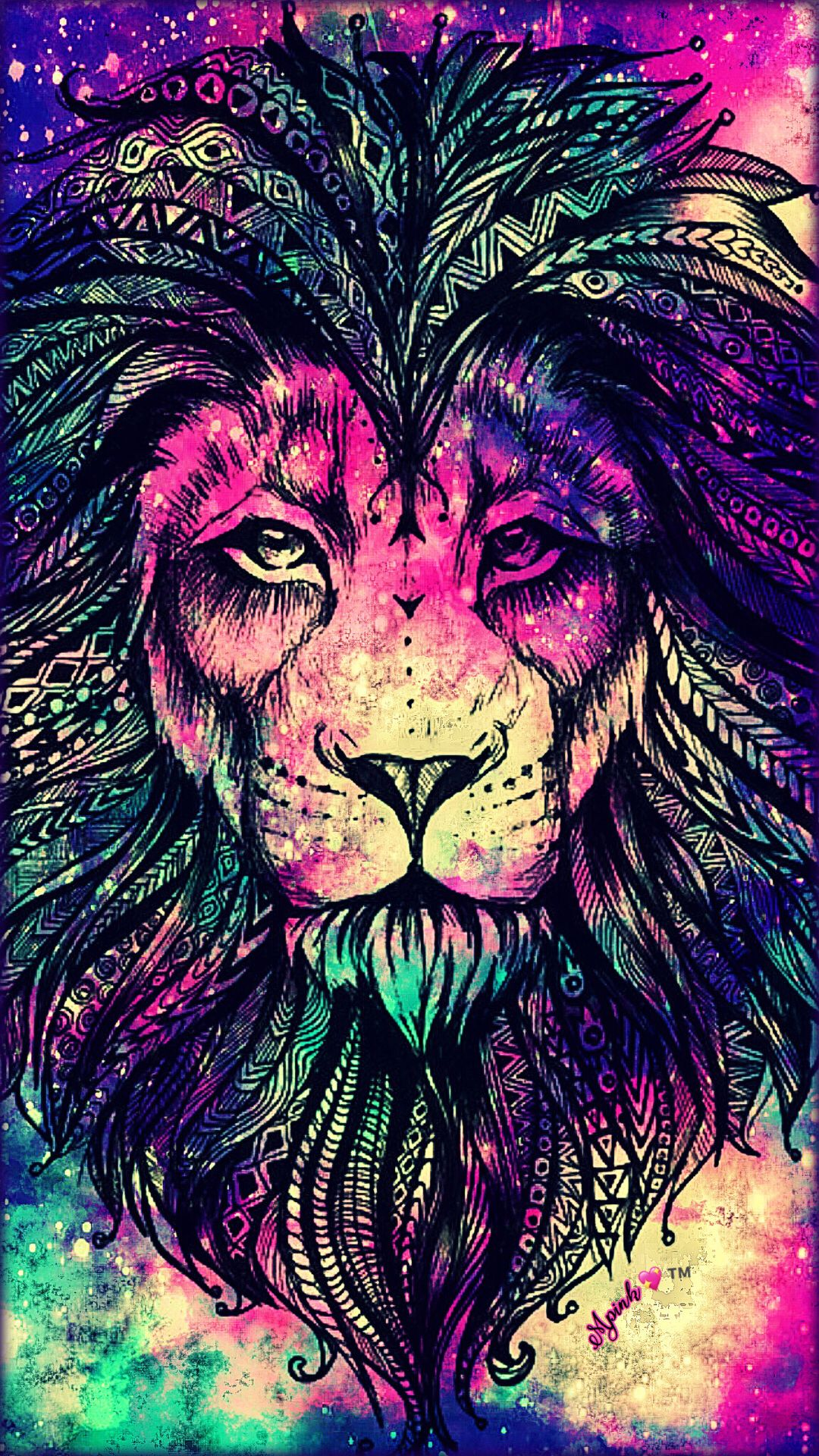 Rainbow Lion Galaxy Wallpaper Androidwallpaper Iphonewallpaper