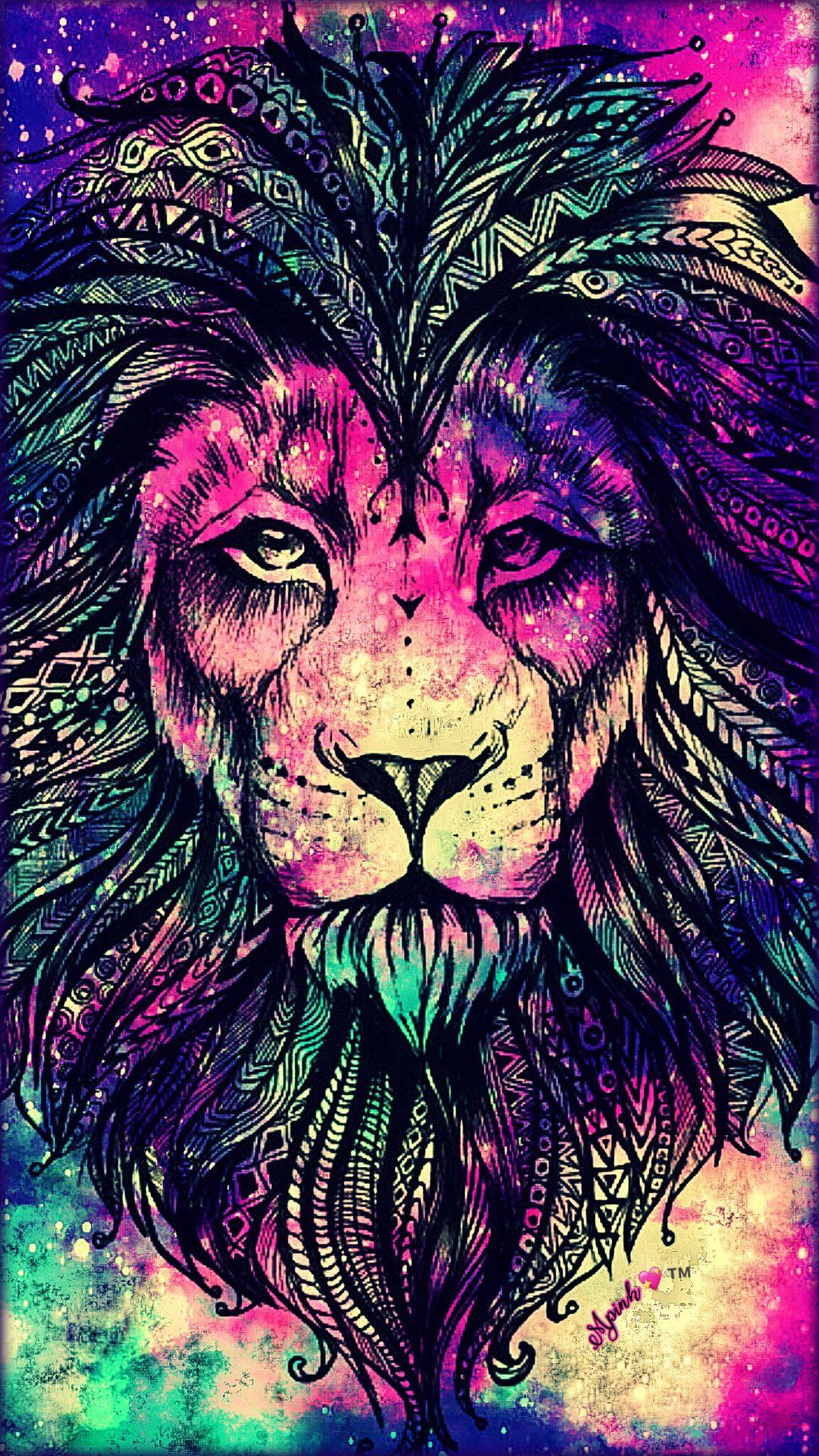 Rainbow Lion Galaxy Wallpaper Androidwallpaper Iphonewallpaper Wallpaper Galaxy Sparkle Glitter Lockscreen Colorful Lion Lion Wallpaper Animal Wallpaper