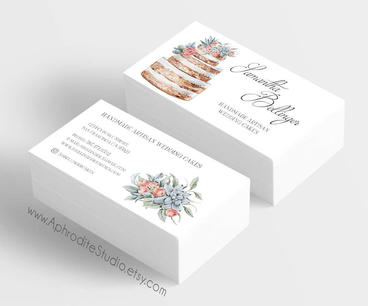 Bakery business cards cake business cards printable business bakery business cards cake business cards printable business cards naked cake business cards custom business cards baker business card reheart Images