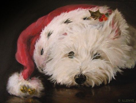 WESTIE CHRISTMAS CARDS SANTA HAT WITH BELLS Original art painting ...
