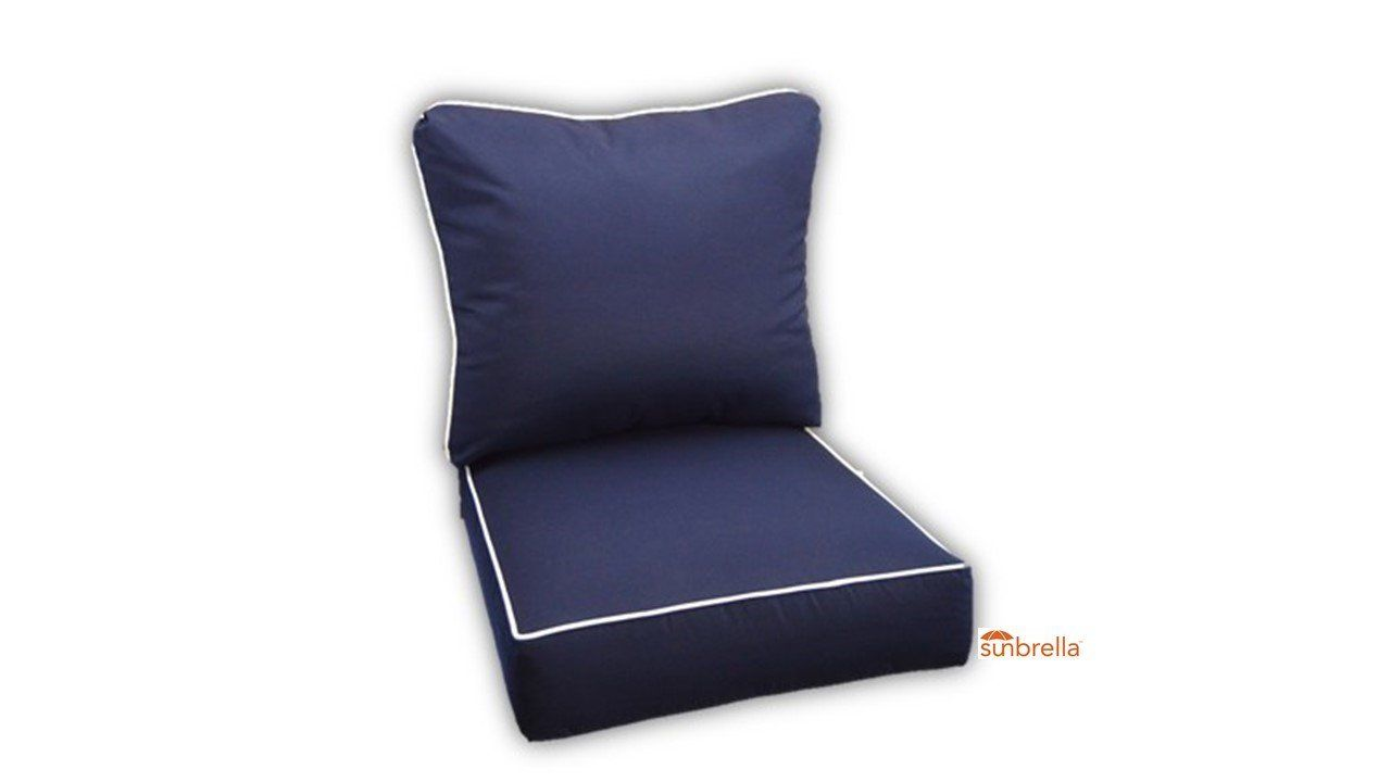 sunbrella canvas navy with white piping