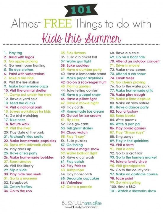 101 almost free summer activities #summerschedule