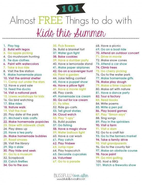 101 almost free summer activities #summerschedule