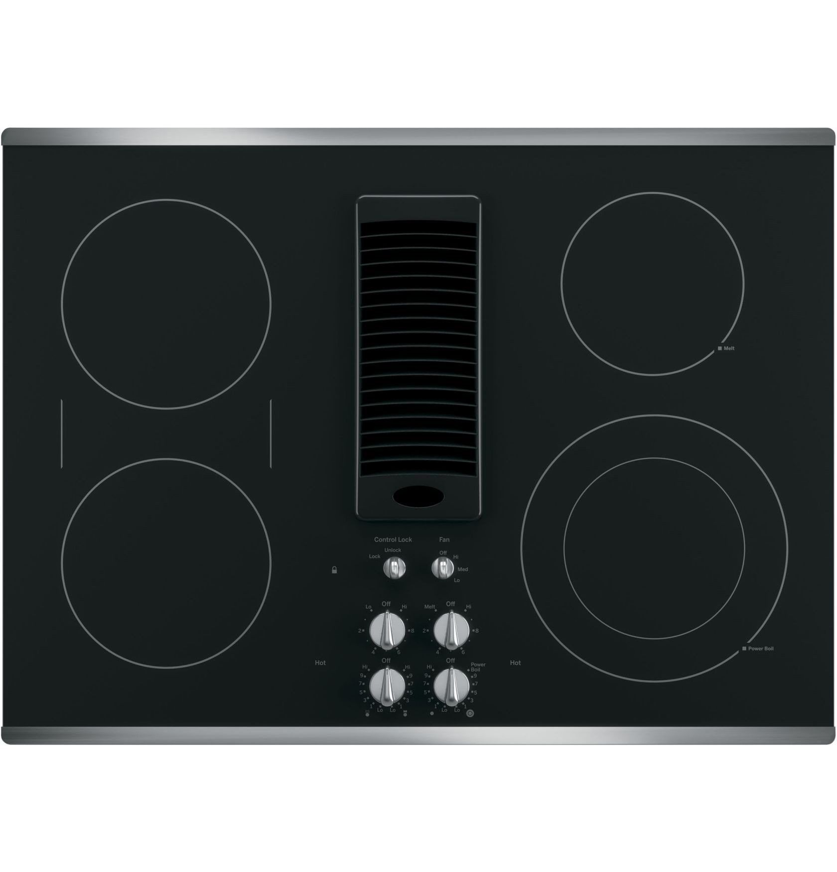 Profile 30 Stainless Steel Electric Smoothtop Cooktop Downdraft