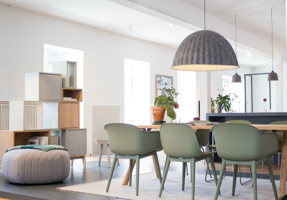 Muuto E27 Hanglamp : An inside view to muuto headquarters under the bell pendant lamp