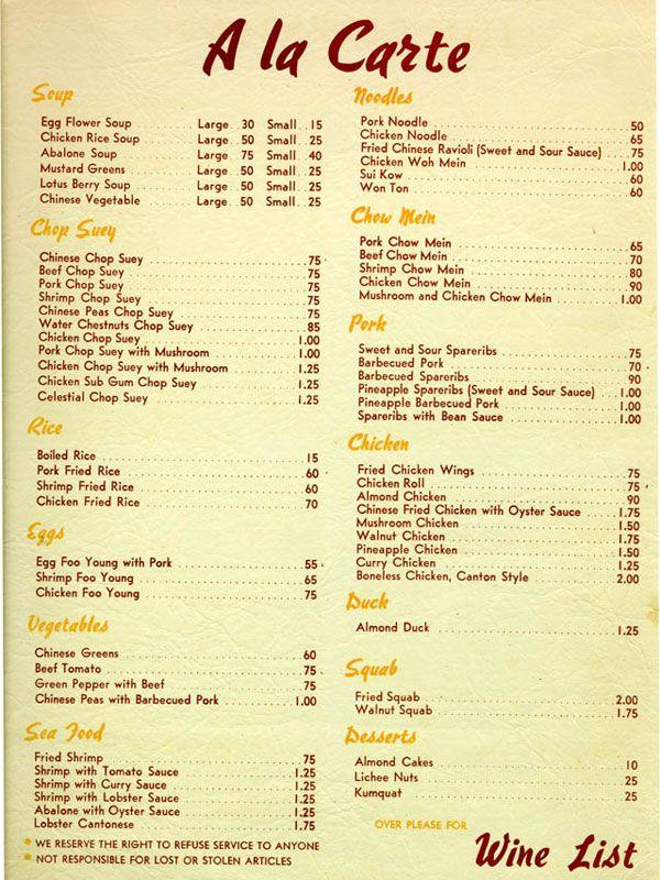 Historic Chinese Menus From L A S Chinatown And Beyond Kitajskij Restoran Restoran