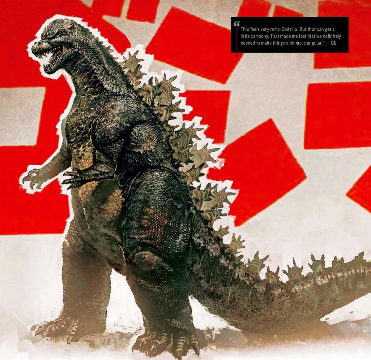 """""""This feels very retro-Godzilla,"""" said Edwards. """"But that can get a little cartoony. That made me feel that we definitely needed to make things a bit more angular."""""""