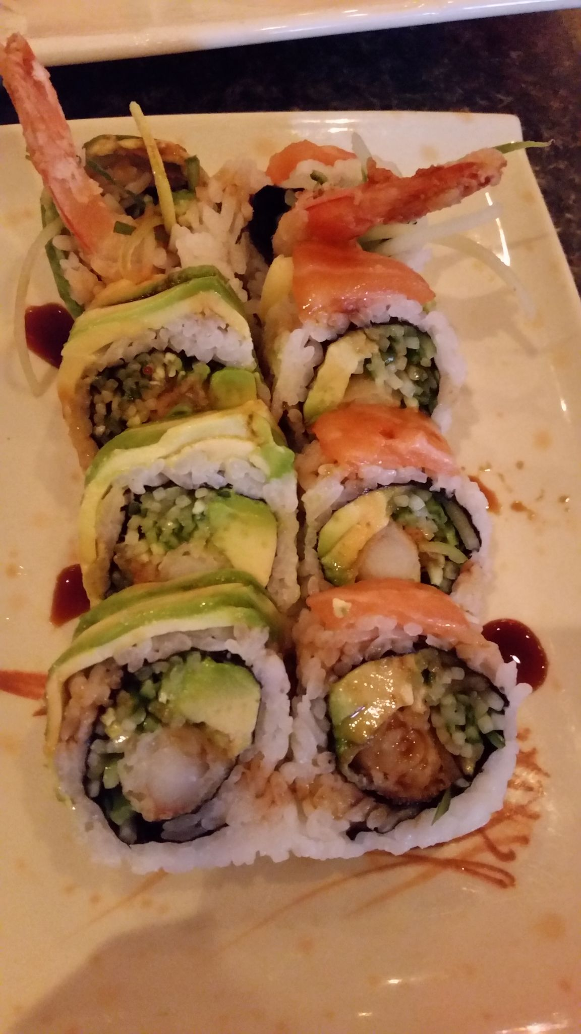 Green And Red Dragon Maki Sushi Feast Cambridge Ontario Canada Sushi