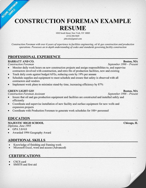 Construction Foreman Sample Resume (resumecompanion) Resume - construction skills resume