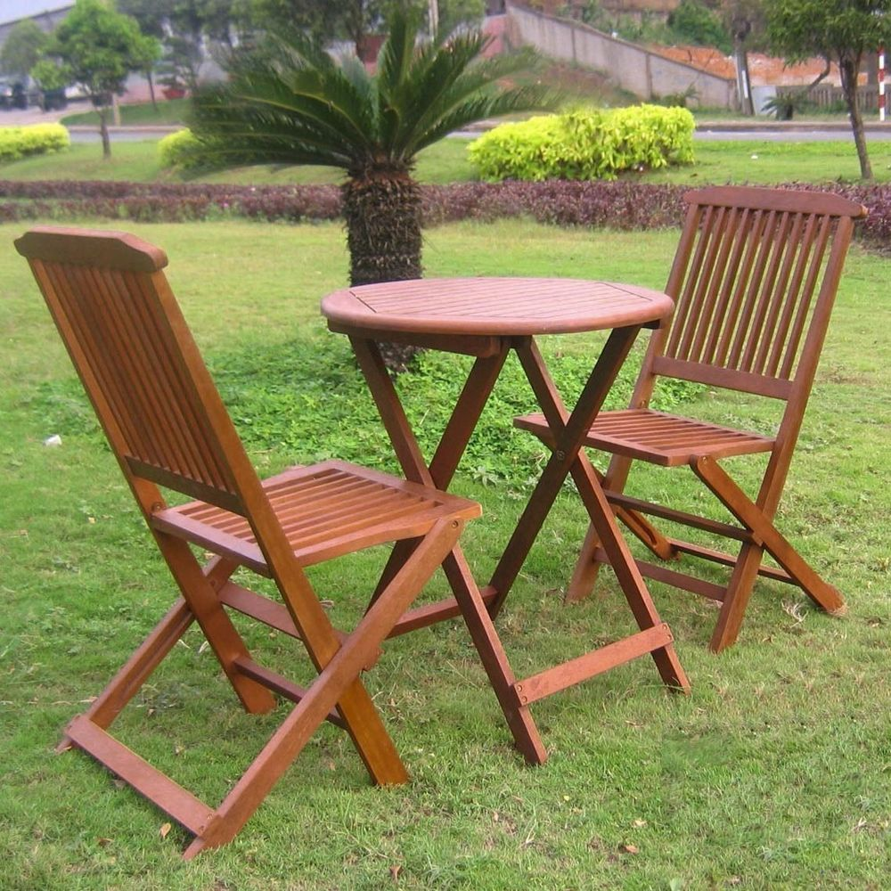 Check Out This Outdoor Bistro Set Dining Furniture Round Table Chairs Patio Wood 3pcs Garden In Home Yard Living