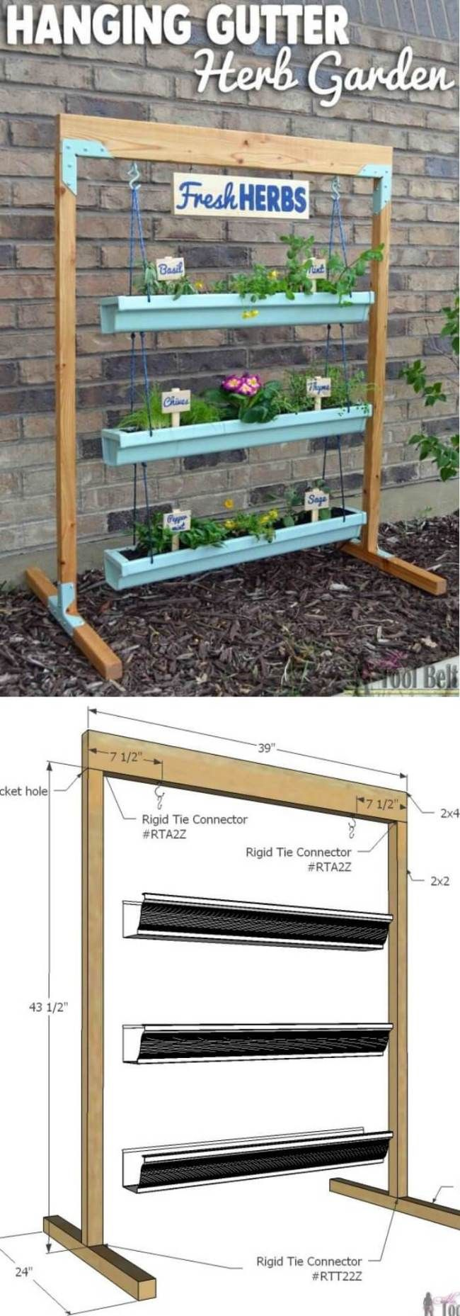26+ Best DIY Vertical Rain Gutter Garden Ideas For Small Spaces #kräutergartendesign