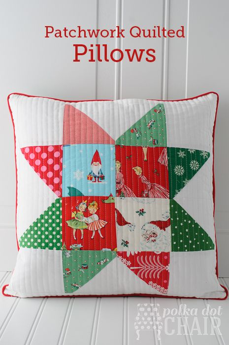Patchwork Quilted Star Pillow Tutorial on polkadotchair.com