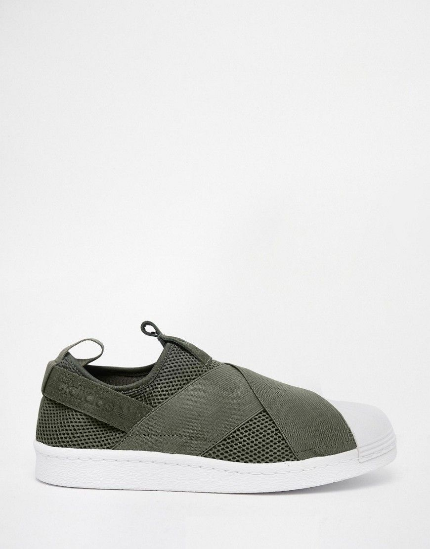 adidas Originals Khaki Superstar Slip On Sneakers at asos.com