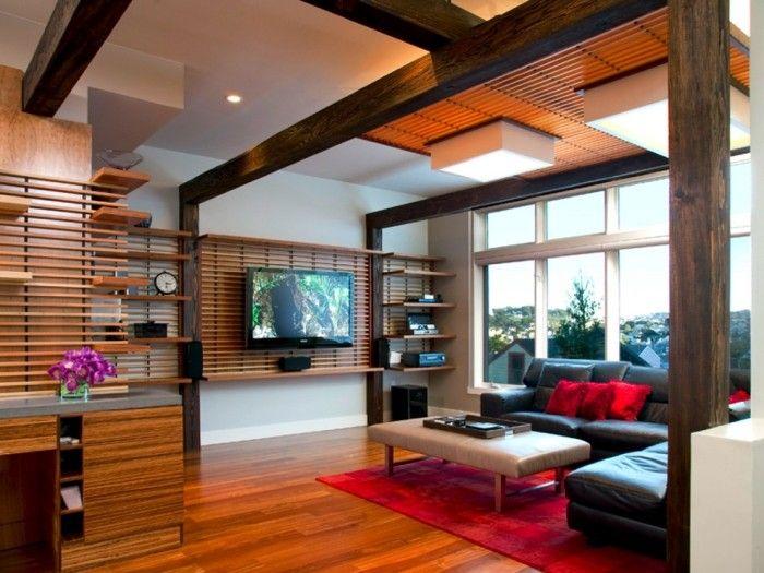 Moderne Wohnwand Style : Funktionale wohnwand aus holz offene regale und platz für den