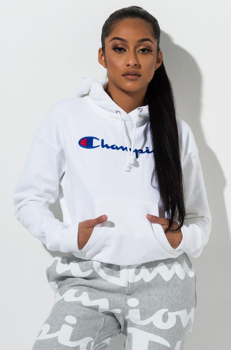 Champion Pullover Hoodie with C Script Logo in White, Black, Purple