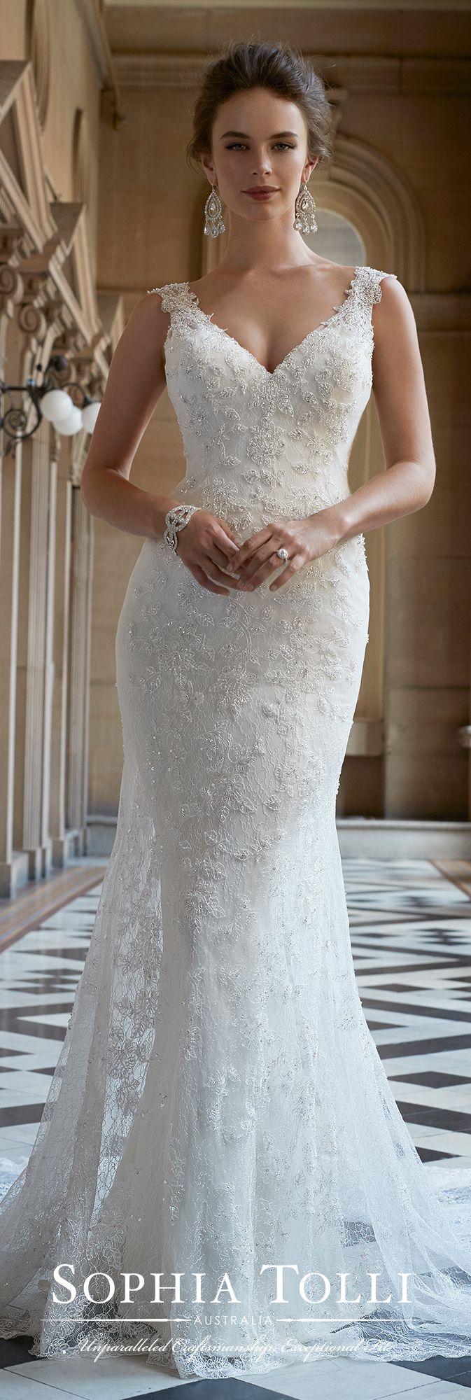 Lace vneck wedding dress with illusion back sophia tolli y