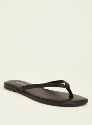 f2d916fc2767 Wide Width Black Faux Leather Flip Flop Sandal in Black White - Wide Width