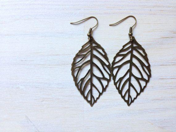 Leaf Earrings: Metal, Antiqued Bronze, Lead Free, Nickel Free, Long, Leaves, Filigree, Simple, Summer, Fashion, Fun, Earthy via Etsy $10