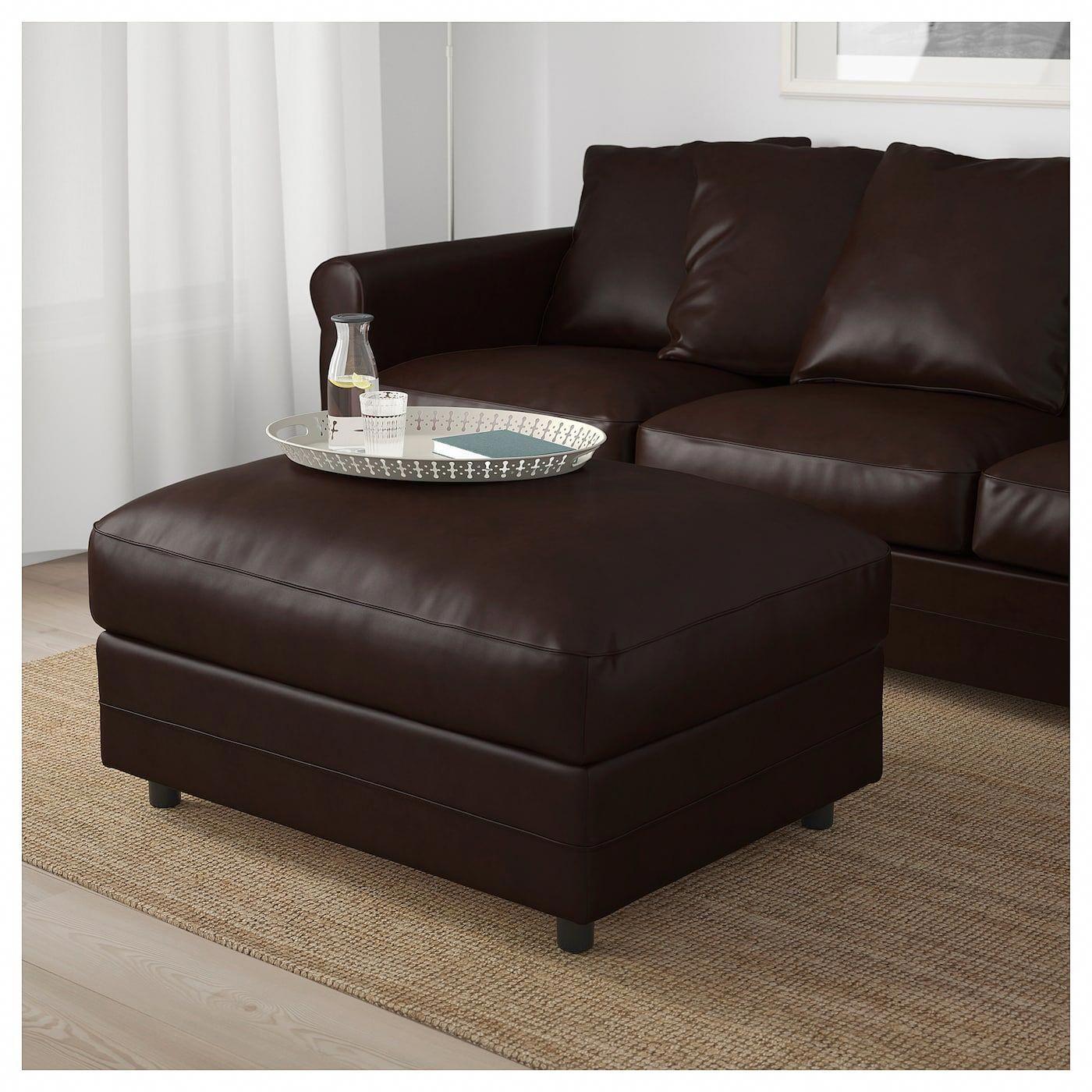 IKEA GRÖNLID Footstool with storage Kimstad dark brown