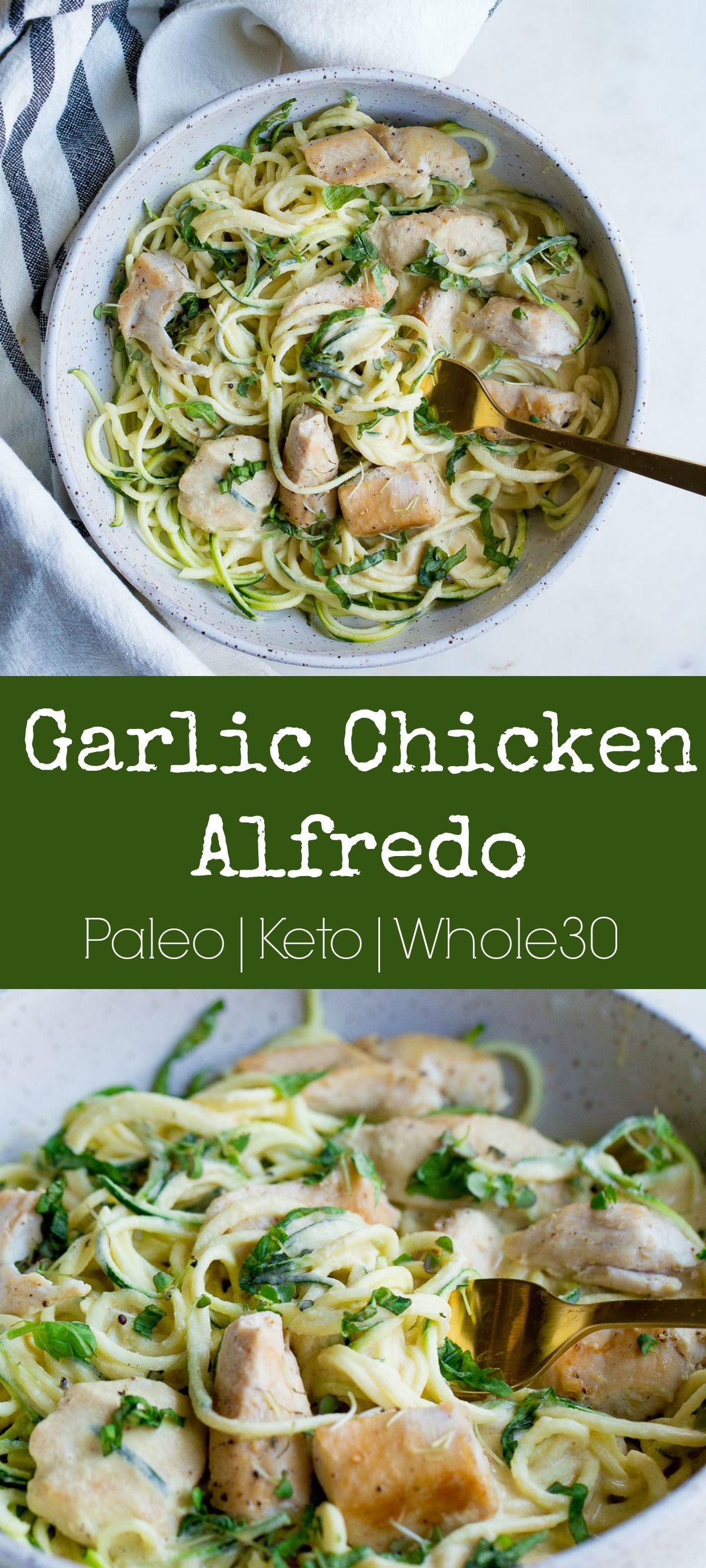 Paleo Garlic Chicken Alfredo - You'll love this dairy-free, lightened up variation of Chicken Al
