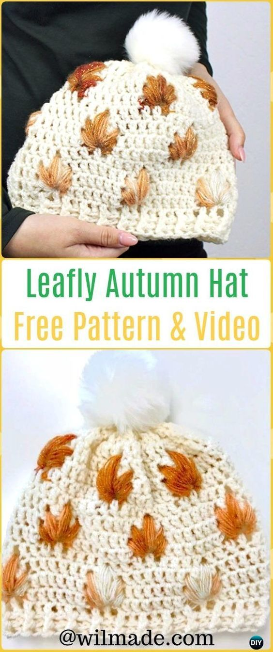 DIY Crochet Leafly Autumn Hat Free Pattern | Gorros