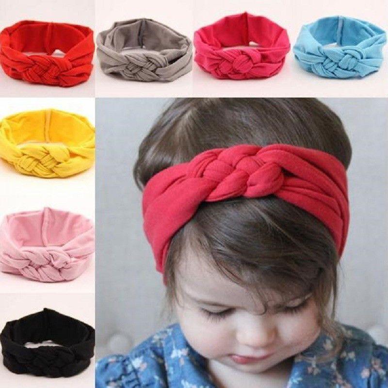 Toddler Baby Kids Girls Knot Bow Turban Headband Hair Band Head Wrap Headwear