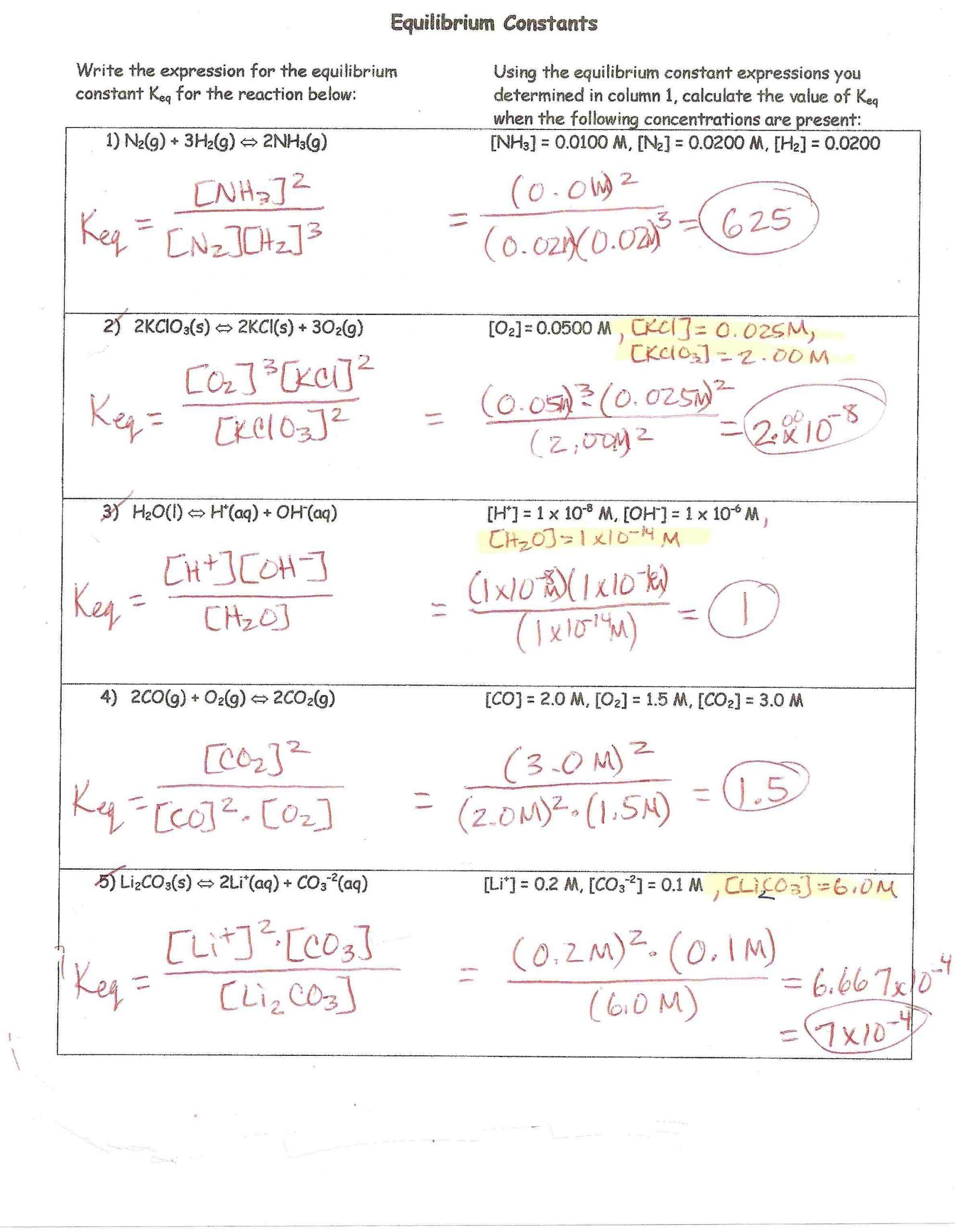Stoichiometry Worksheet 1 Answers Mole Worksheet Work In