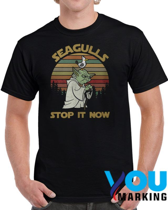 d5f2ebf58 Sunset retro Yoda style seagulls stop it now T Shirt | T shirt ...