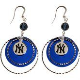 LogoArt New York Yankees Women's Mirrored Game Day Earrings - Silvertone/Royal Blue