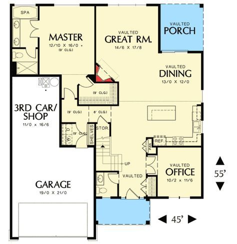 Plan 69573am 3 Bedroom Empty Nester House Plan Empty Nester House Plans Empty Nesters House House Plans