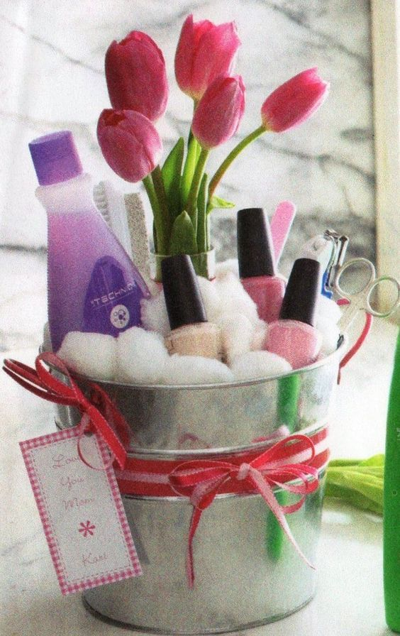 Nail polish bucket gift ideas pinterest basket ideas gift cute gift basket idea for teen maybe an ice bucket for mothers day too awesomeh or hot red nail polish for birthday girls negle Choice Image