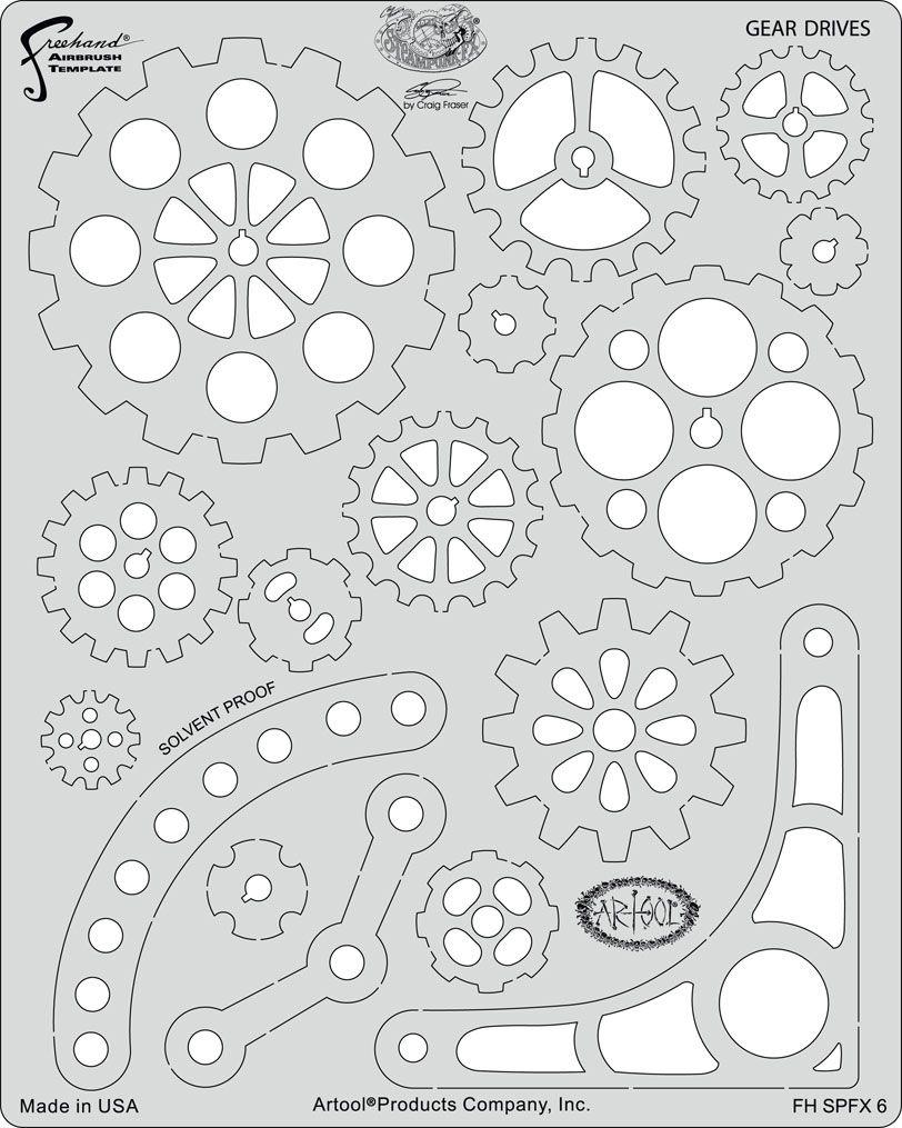 artool freehand airbrush templates steampunk fx gear ...