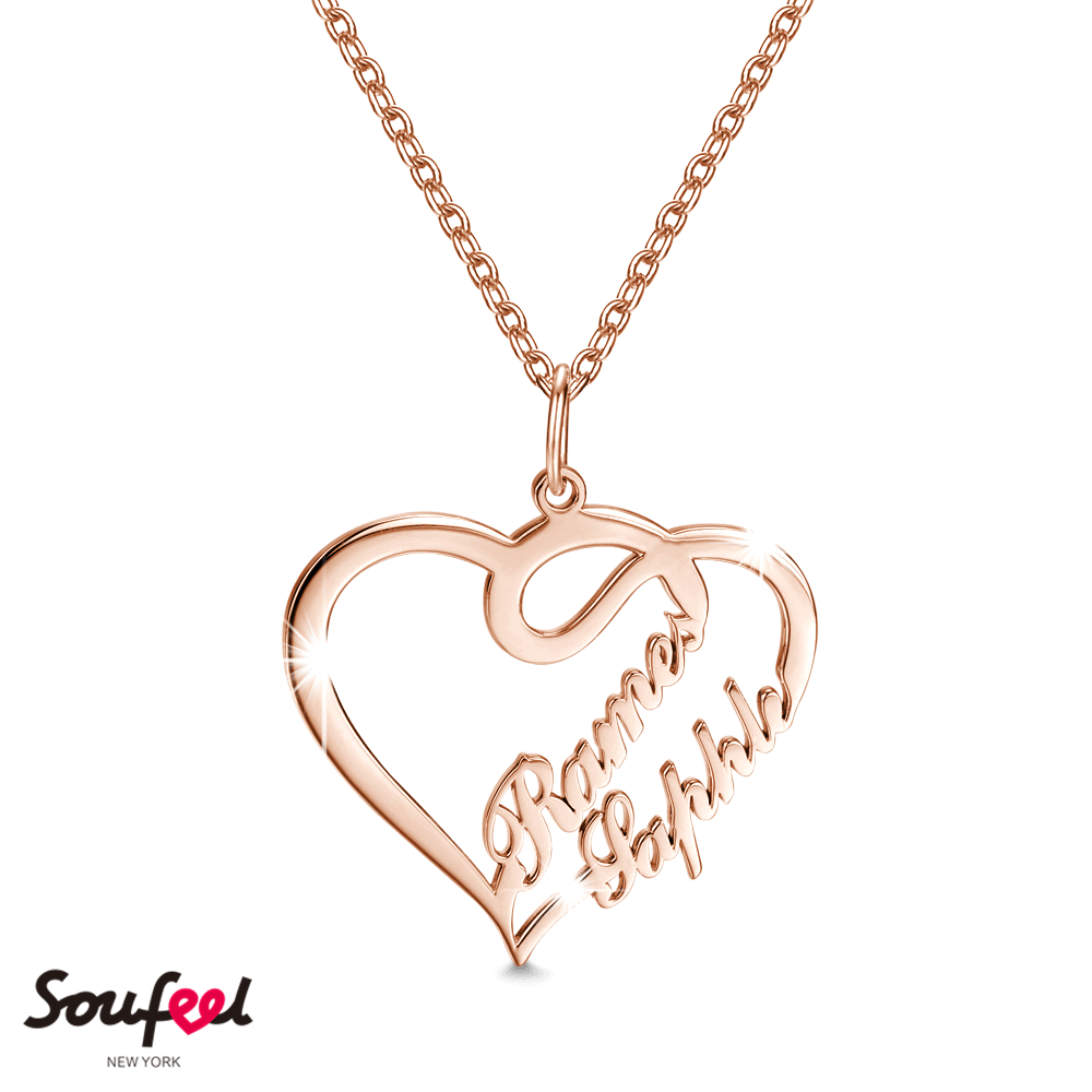 60f0a5cc54 Overlapping Hearts Personalized Name Necklace Rose Gold Plated 925 Sterling  Silver