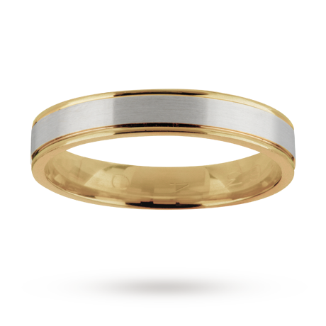 Gents wedding ring in 18 carat white and yellow gold gold rings