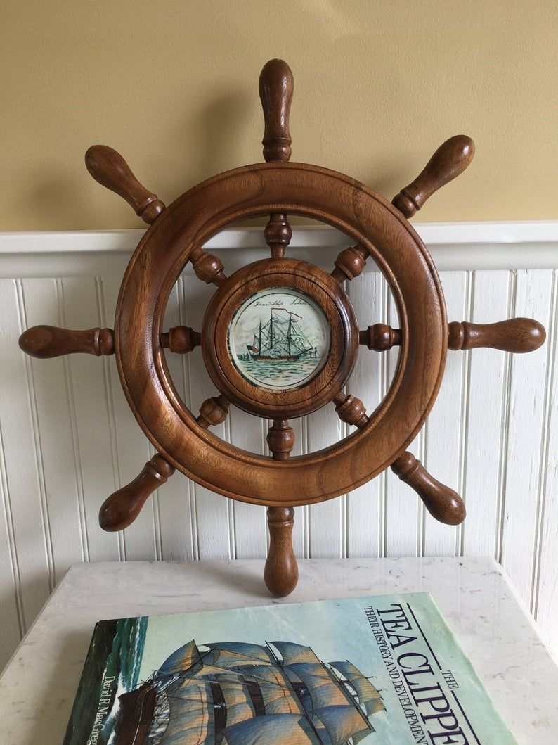 Vintage 19 Wooden Ships Wheel Decorative Ships Wheel With 3 5 Picture Window Wall Decor Nautical Coastal Beach Maritime Man Cave In 2020 Wooden Ship Vintage Nautical Wooden