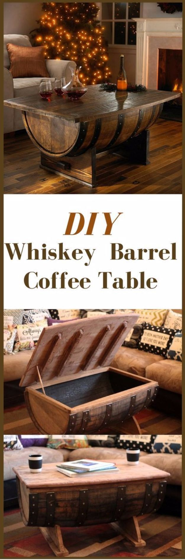 best diy mancave decor ideas whiskey barrel coffee table