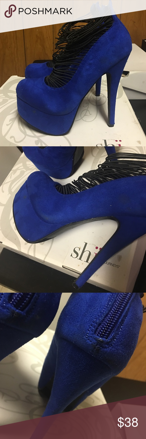 Blue Suede Platform Heels Pre owned, worn once. Shoes do have minor scuff marks. This shoe is super comfortable. The black string straps are stretchy so they adjust to your foot. SHI by Journeys Shoes Heels
