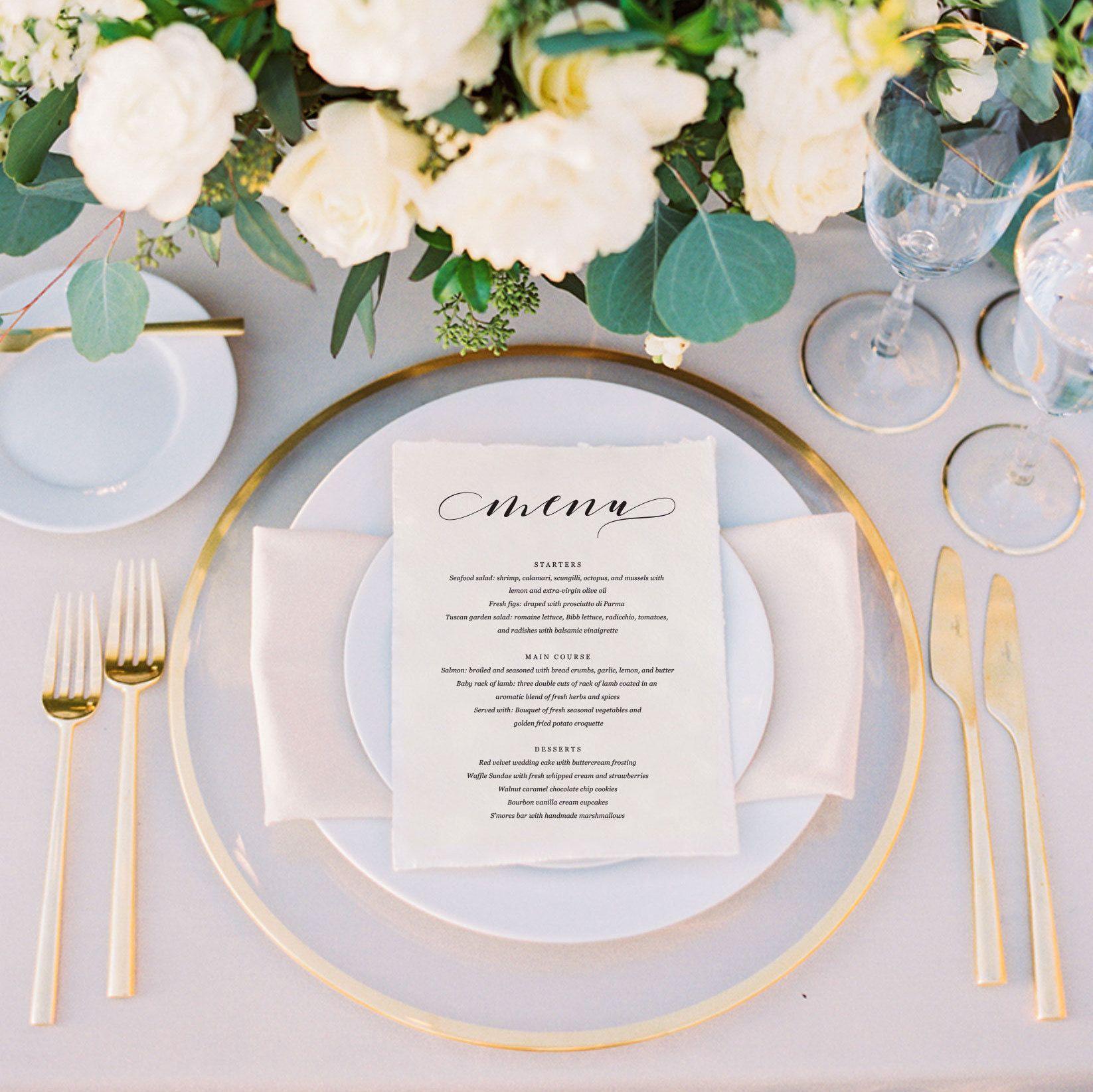 Wedding Menu Template | Wedding Menu Printable | Menu Sign | Menu ...