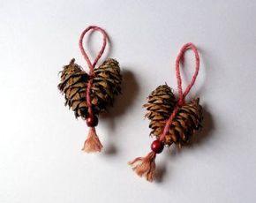 Photo of Ähnliche Artikel wie Rustikale Pine Cone rotes Herz Ornamente Set aus zwei auf Etsy