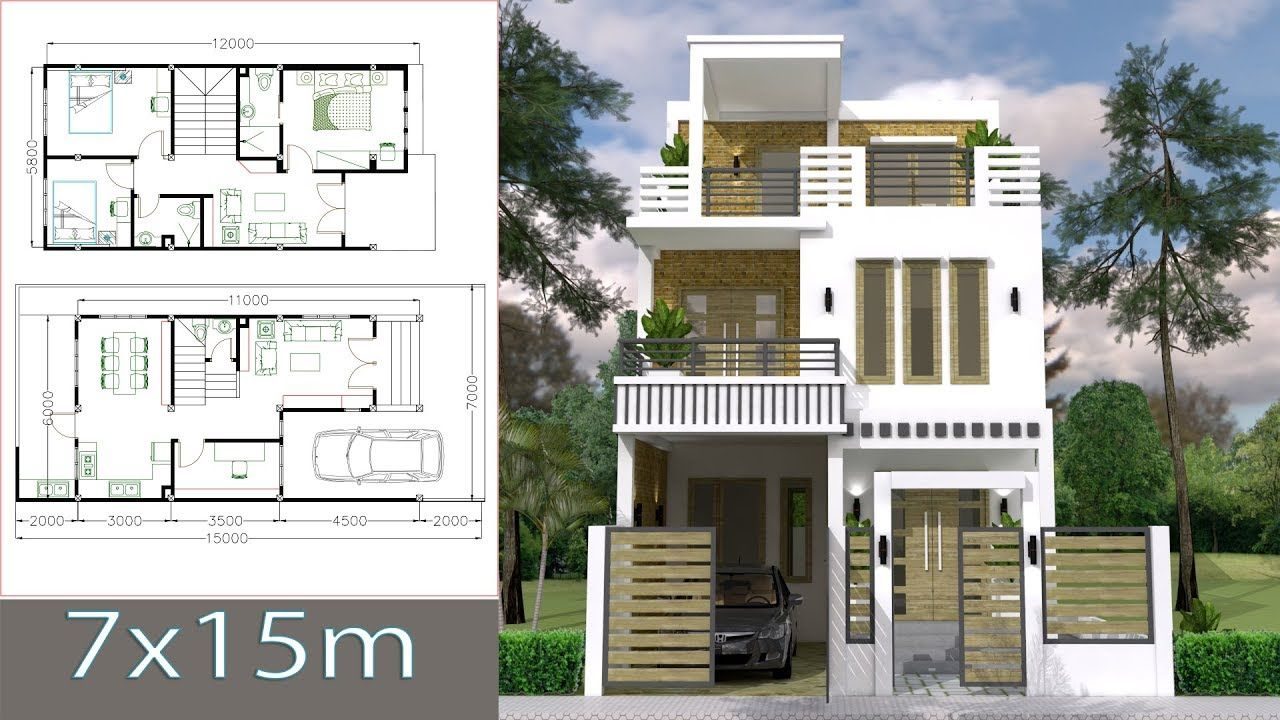 7x15m Simple Home Design Plan With 3 Bedrooms Simple House Design Home Design Plans Home Design Plan