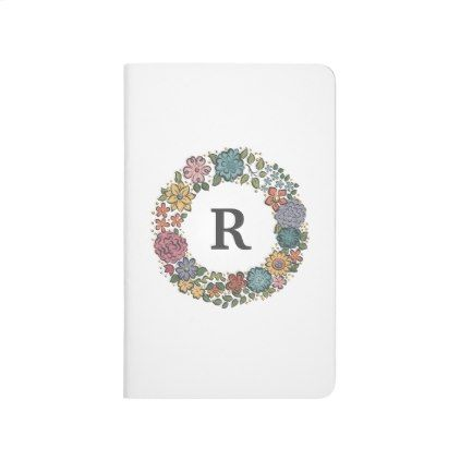 Initial Flower Wreath pocket journal - monogram gifts unique design style monogrammed diy cyo customize