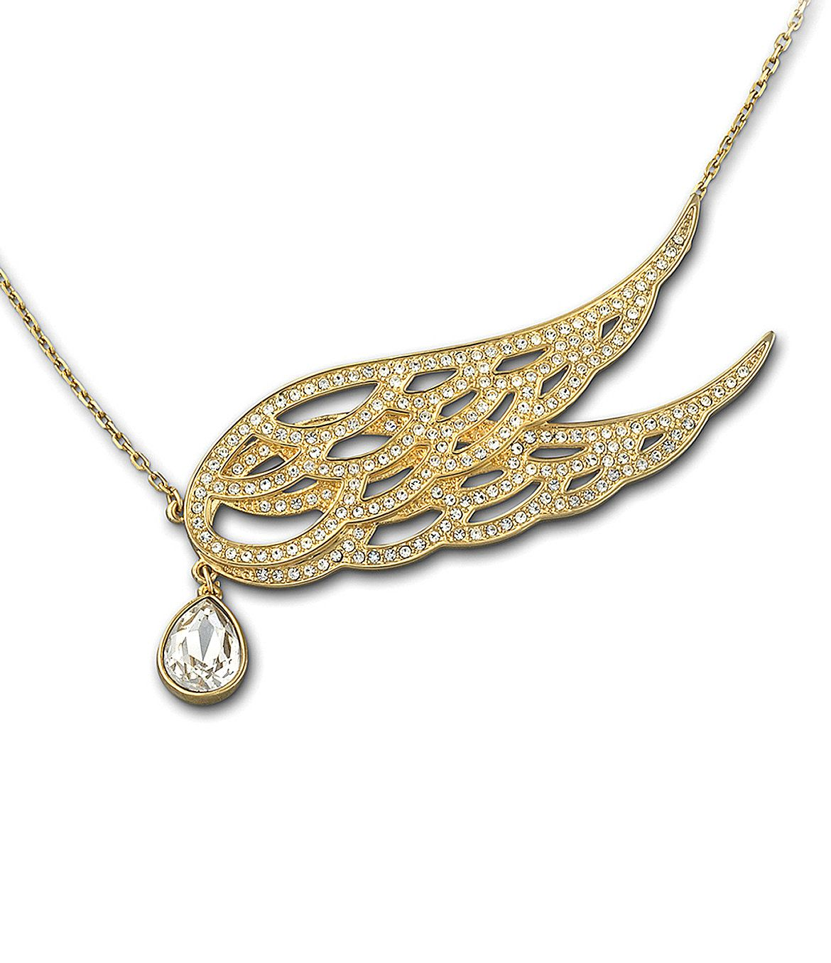 "An openwork goldtone set of wings embellished with pave crystals gives this Swarovski necklace a dramatic, elegant look. The clear crystal accent drop is a sparkling touch.  goldtone plated base metal  lobster clasp closure  15 5/8"" long"