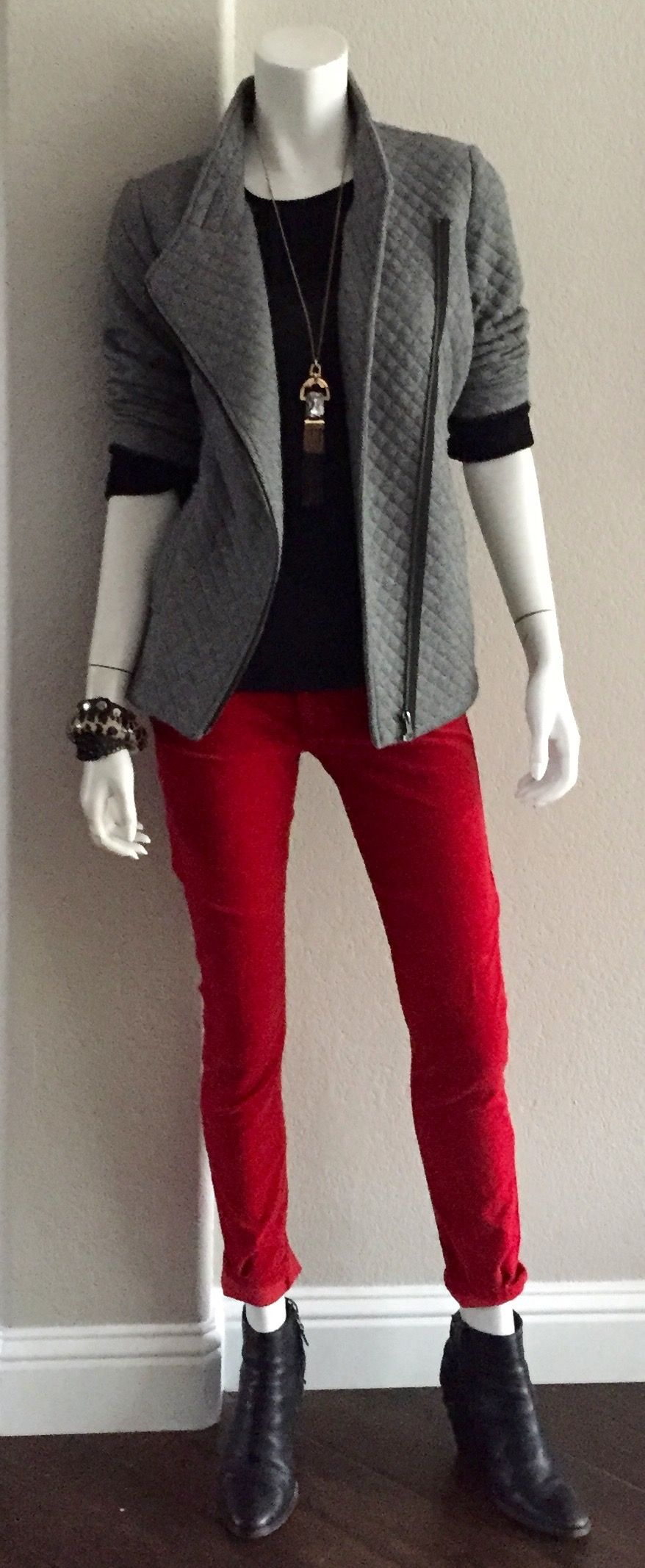 cabi Scarlet Cord, Bustier Top & Quilted Moto Jacket #cabiclothing