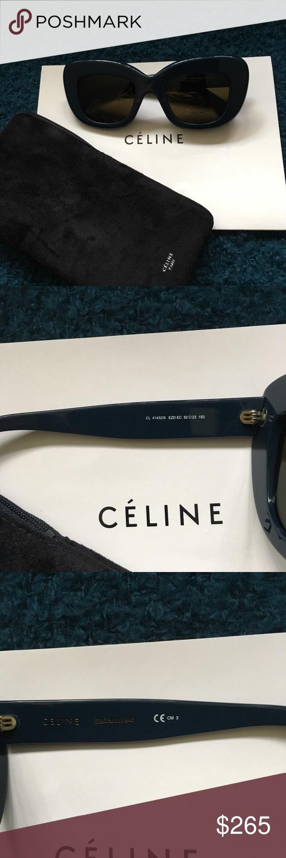 7157a52798 Celine CL 41432 S • Diane • Petrol (Dark Blue) New Never Worn ...