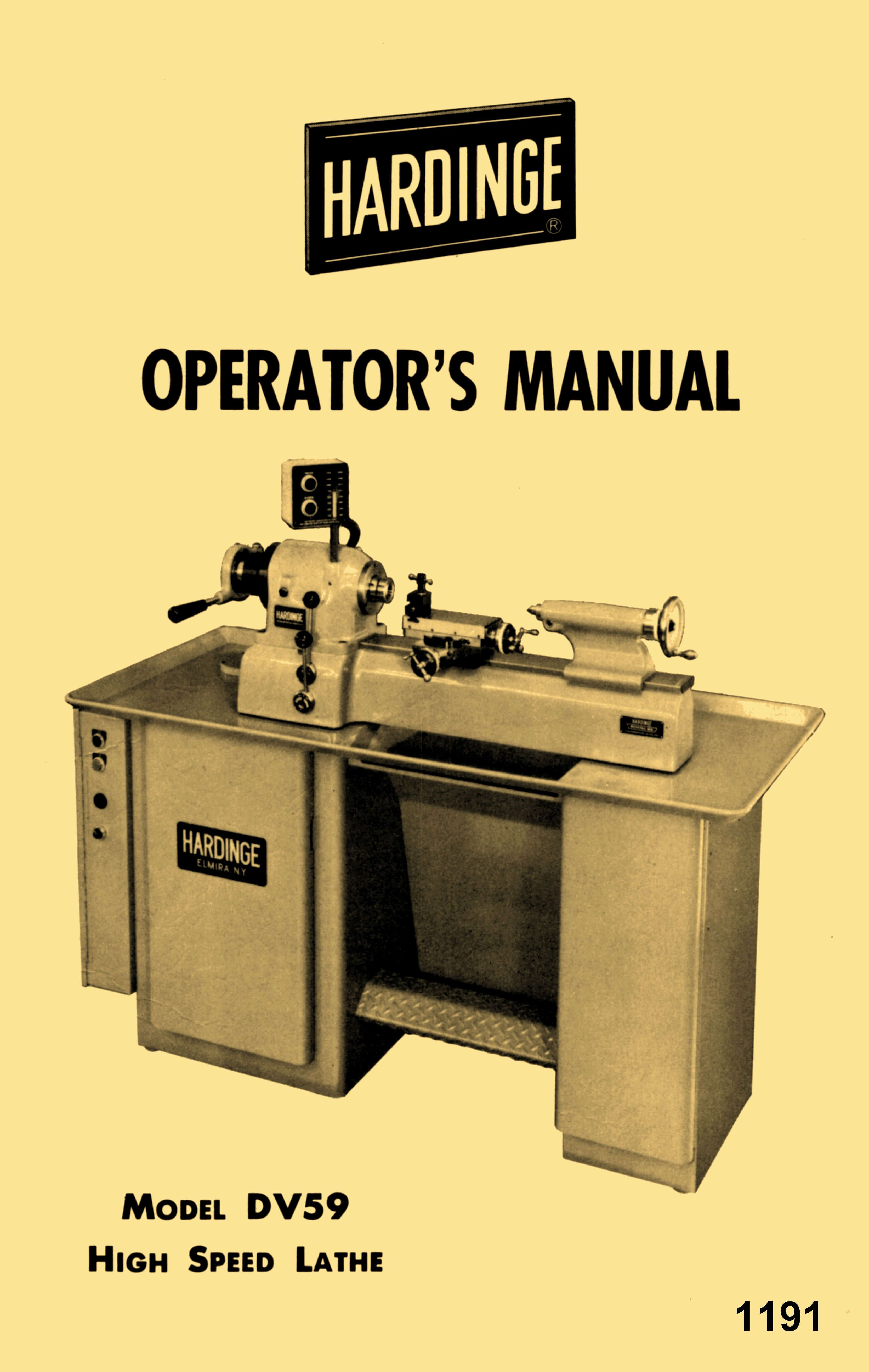 HARDINGE Older DV59 Metal Lathe Operator's Manual | Ozark ... on