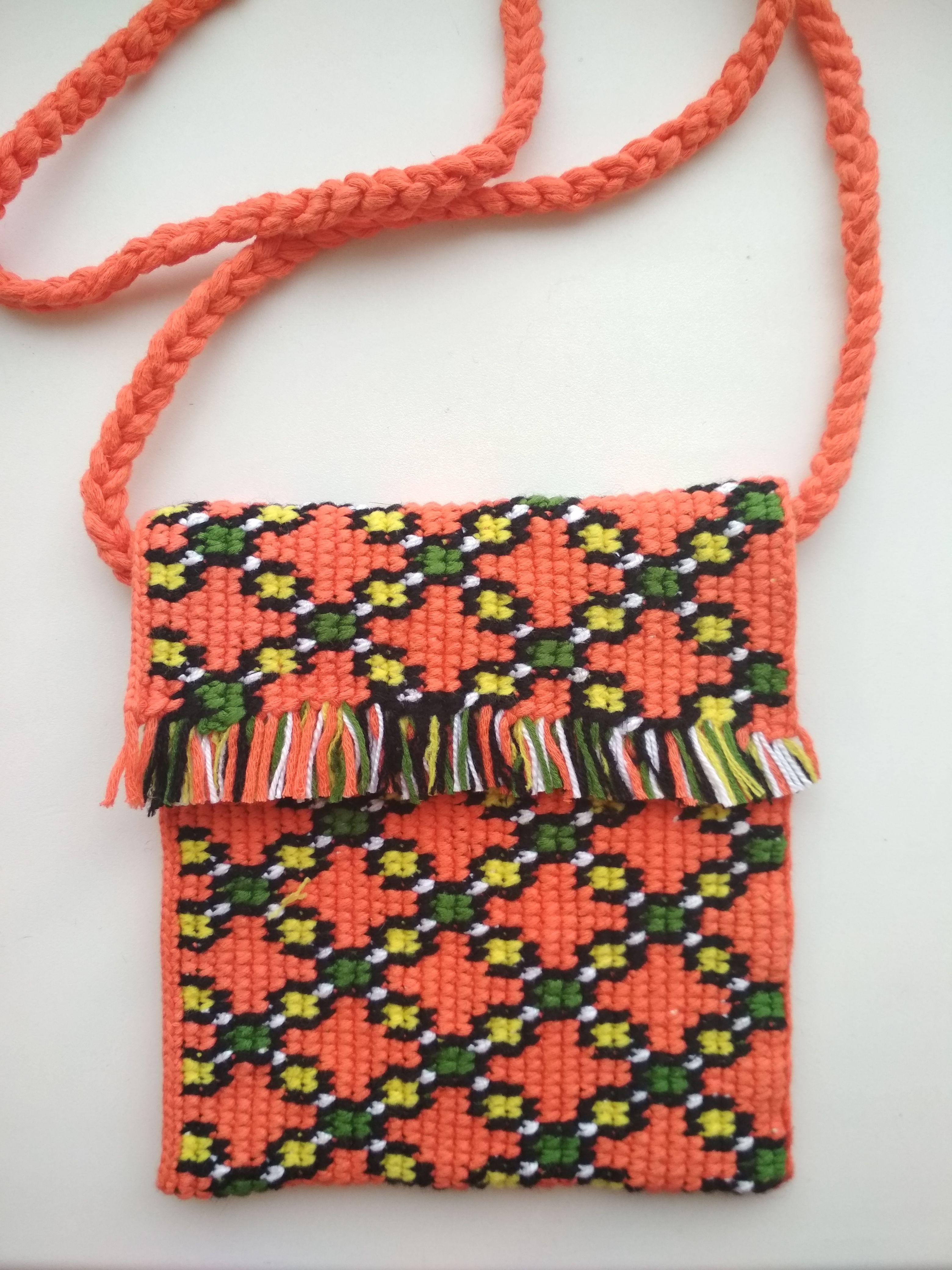 1190eaf3c2b Boho small orange crossbody bag Crochet ethnic mandarine handbag сlutch  Colorful tapestry crochet bag