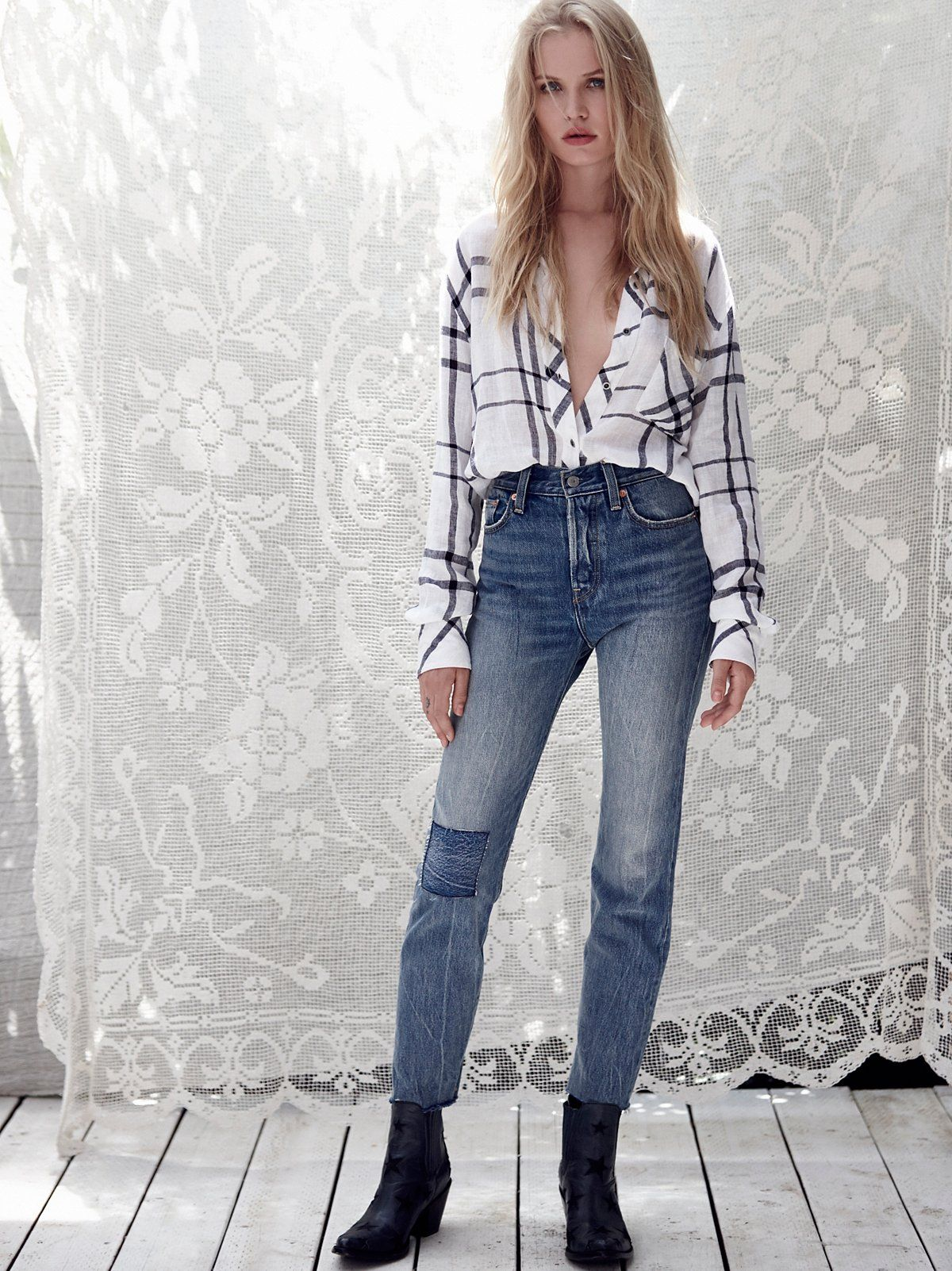Levi's Levi's Wedgie Icon Patched Jeans at Free People Clothing Boutique